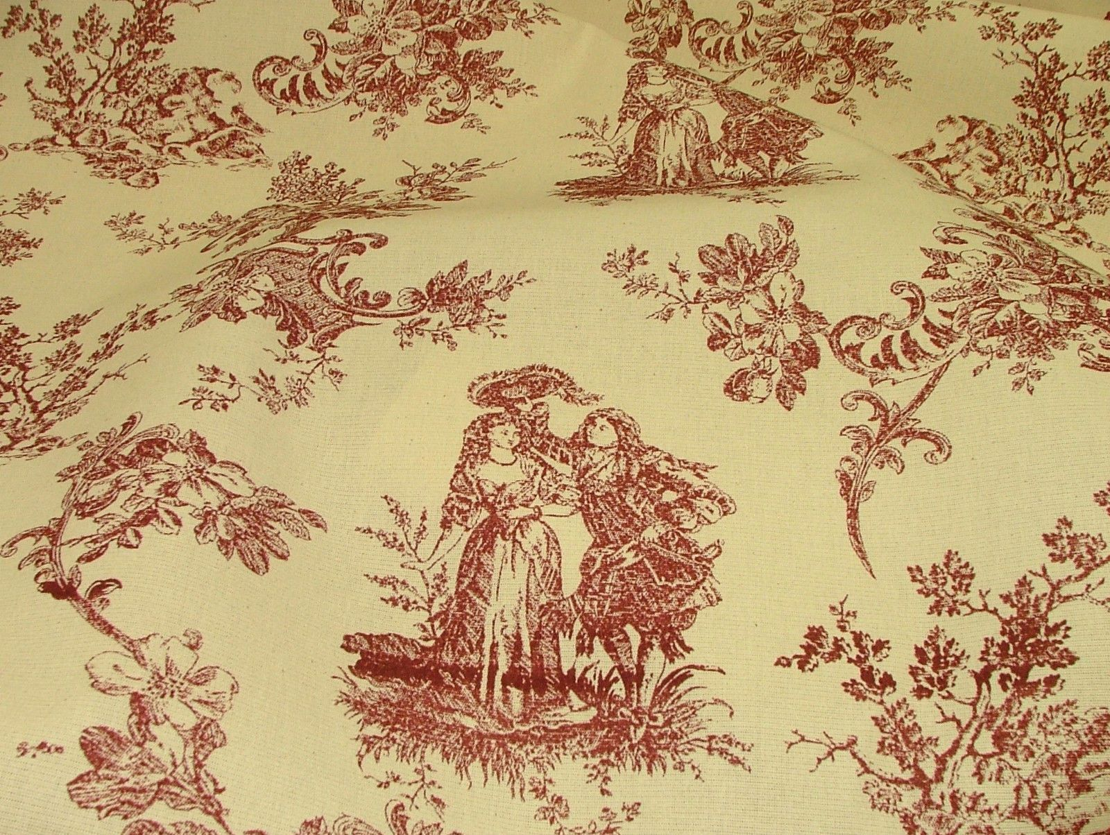 Red Amp Natural Cream Linen Look Toile De Jouy Curtain